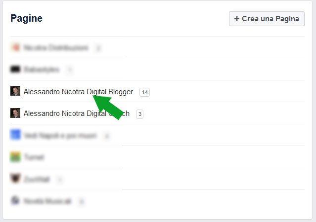 Facebook accedere a pagina da interfaccia di gestione - aggiungi ai preferiti