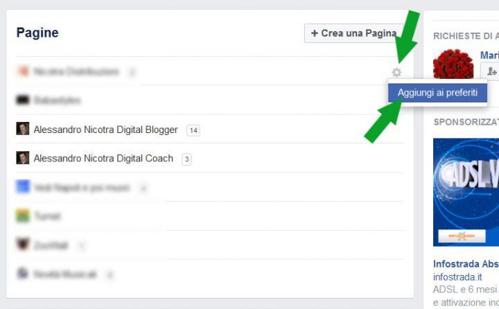 Facebook interfaccia di gestione - aggiungi ai preferiti