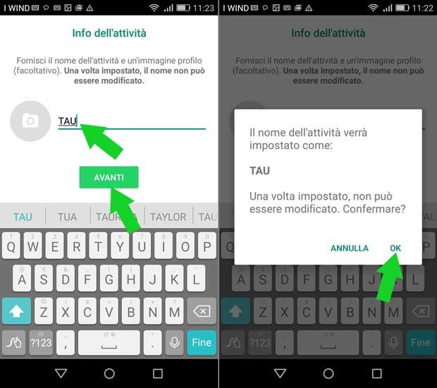 configurazione whatsapp business - il nome dell'azienda non può essere cambiato