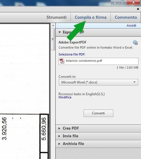 Il tasto Compile e Firma nelle colonna degli strumenti di Adobe Reader