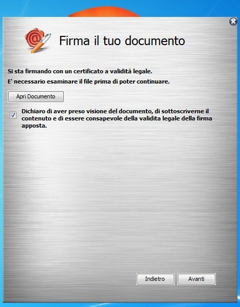 ArubaSign verifica documento da firmare