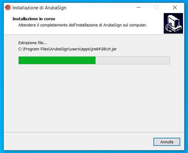 installazione ArubaSign win 10 - barra di avanzamento