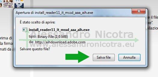 Finestra di conferma del salvataggio del file di installazione di Adobe Reader