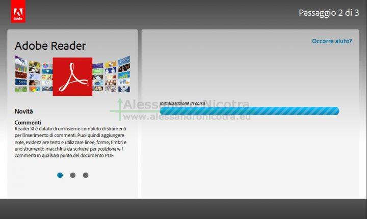 Pagina di download di Adobe Reader inizialiazzazione