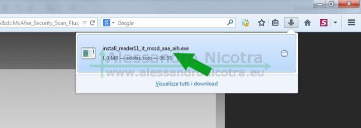 Finsetra di lancio del file di installazione di Adobe Reader