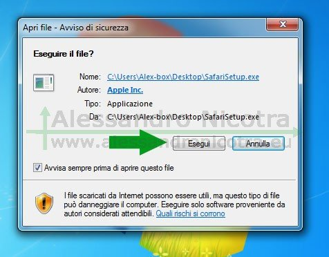 Installare Apple Safari per Windows, avviso di sicurezza