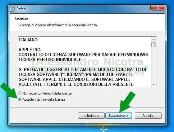 Installare Apple Safari per Windows, accettazione contratto di licenza