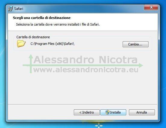Installare Apple Safari per Windows, scelta della cartella di destinazione