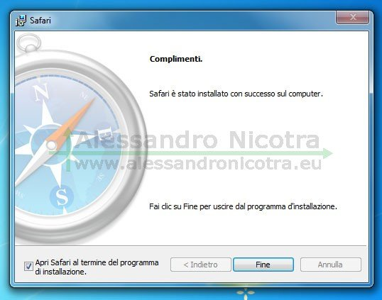 Installare Apple Safari per Windows, fine dell'installazione