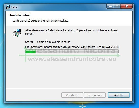 Installare Apple Safari per Windows, installazione in corso