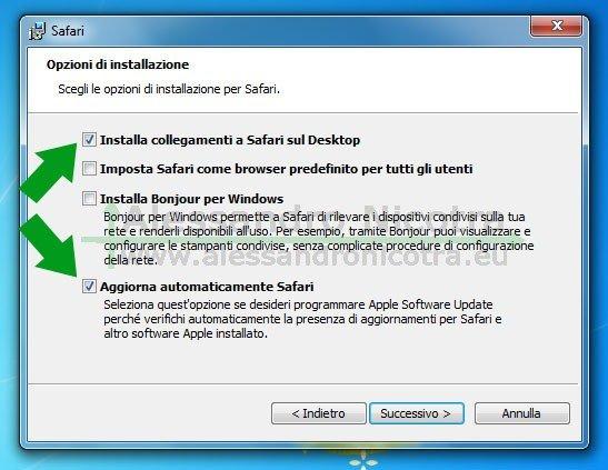 Installare Apple Safari per Windows, scelta delle opzioni di installazione