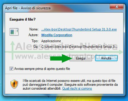 Installare Mozilla Thunderbird su Windows, avviso di sicurezza