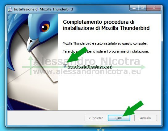 Installare Mozilla Thunderbird su Windows, completamento della procedura