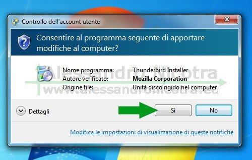 Installare Mozilla Thunderbird su Windows, messaggio del controllo dell'acount dell'utente