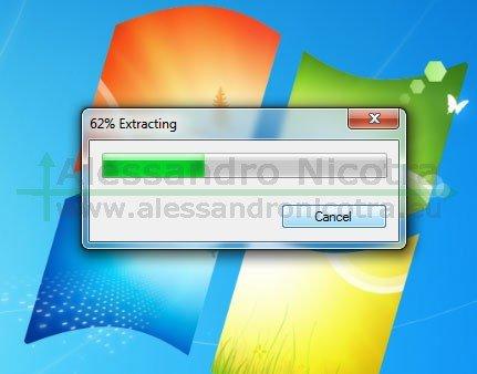 Installare Mozilla Thunderbird su Windows, decompressione dei files dell'installazione
