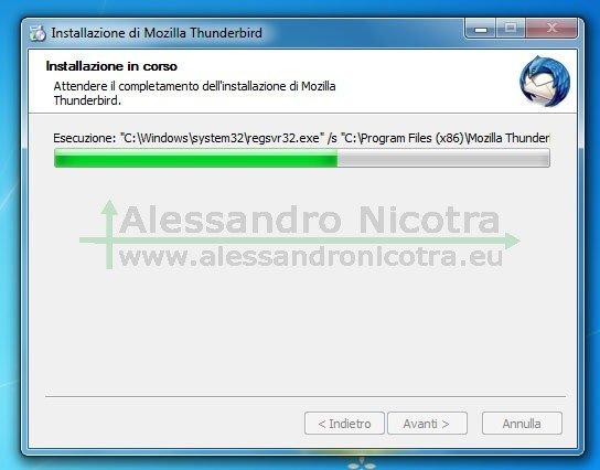 Installare Mozilla Thunderbird su Windows, installazione in corso