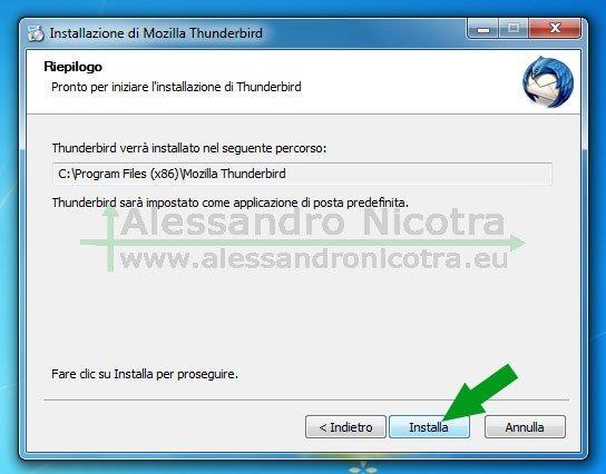 Installare Mozilla Thunderbird su Windows, riepilogo dell'installazione