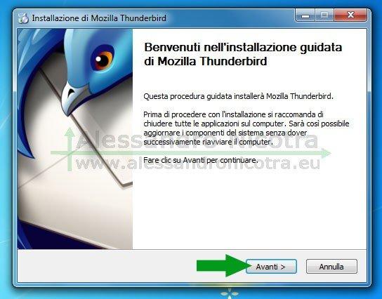 Installare Mozilla Thunderbird su Windows, schermata di benvenuto