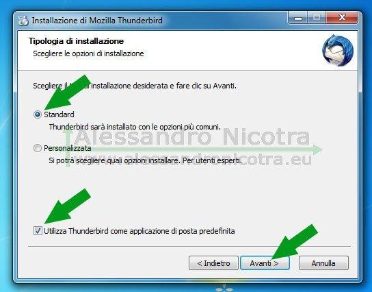 Installare Mozilla Thunderbird su Windows, scelta della tipologia dell'installazione