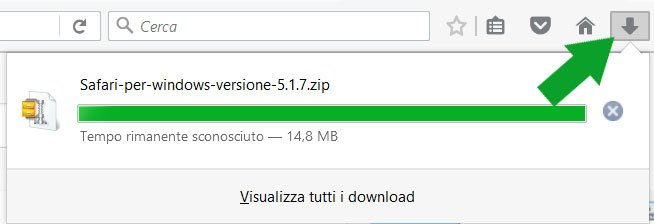 Mozilla Firefox stadio di avanzamento download Safari
