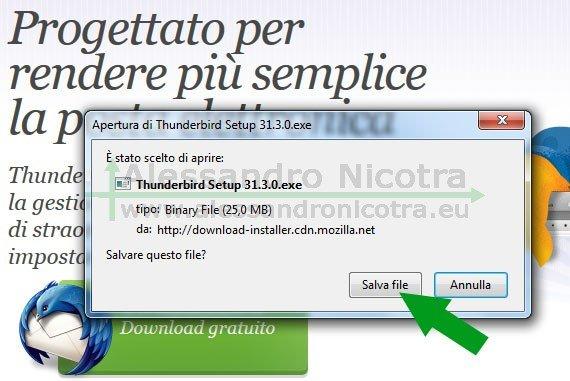 Scaricare Mozilla Thunderbird con firefox, avviso di sicurezza