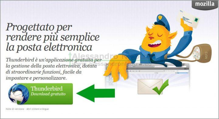 Scaricare Mozilla Thunderbird, la pagina di download del sito web
