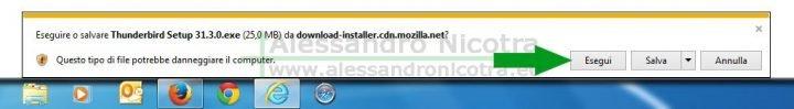 Scaricare Mozilla Thunderbird per windows utilizzando Internet Explorer, avviso di sicurezza