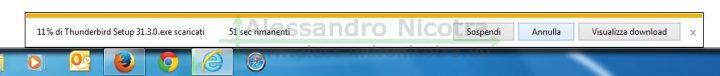 Scaricare Mozilla Thunderbird per windows utilizzando Internet Explorer, stato di avanzamento del download