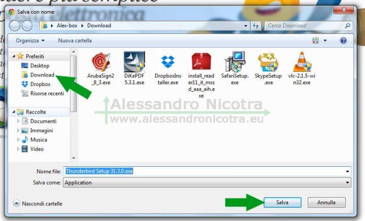 Scaricare Mozilla Thunderbird con Google Chrome, salva con nome
