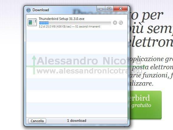 Scaricare Mozilla Thunderbird con Safari, avanzamento del download