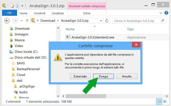 esegui file exe arubasign