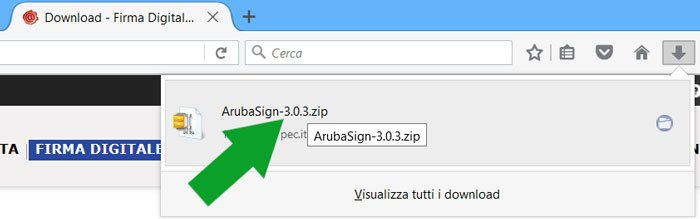 termine del download arubasign firefox