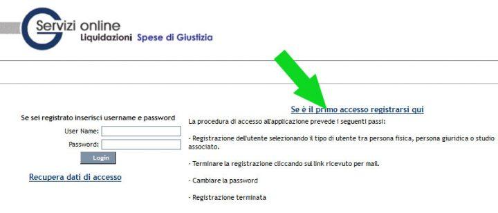 istanza web siamm pagina di accesso o registrazione