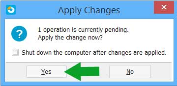 EaseUS Partition Master Apply Changes