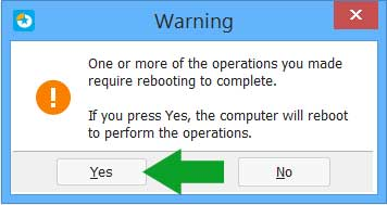 EaseUS Partition Master Warning