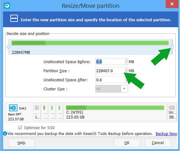 EaseUS Partition Master schermata Resize-Move Partition - Ridimensionare la partizione