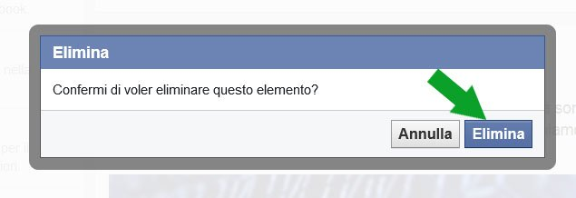 Facebook eliminare post dalla timeline - conferma
