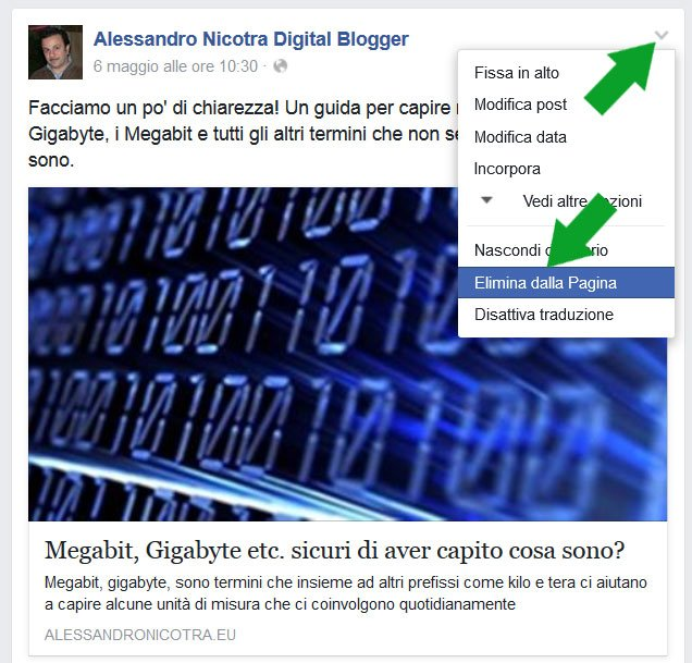 Facebook cancellare post dalla timeline
