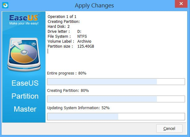 avanzamento apply changes - partizione hard disk