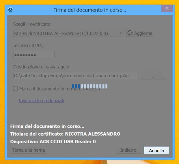 Dike 6 Software - firma del documento - attendere prego