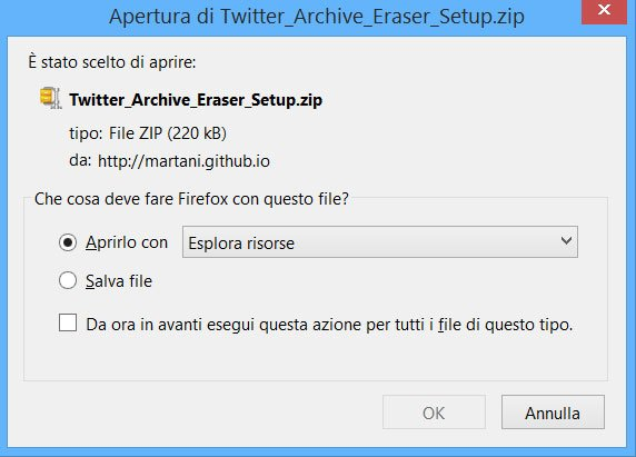 Twitter Archive Eraser - download 3 versioni