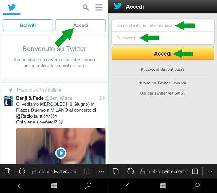 accedi a twitter mobile tramite browser