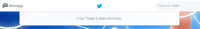 cancellare tweet - eliminato