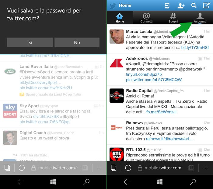 home page di twitter mobile