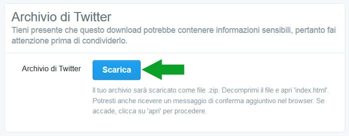 pagina download archivio twitter