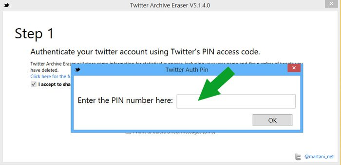 Twitter Archive Eraser step 1 PIN