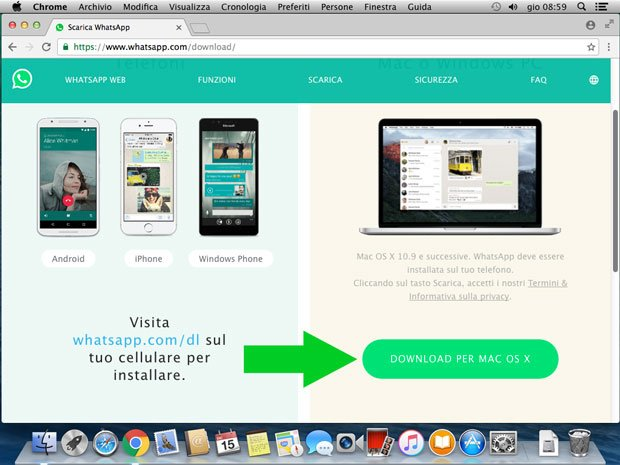 scarica whatsapp per Mac