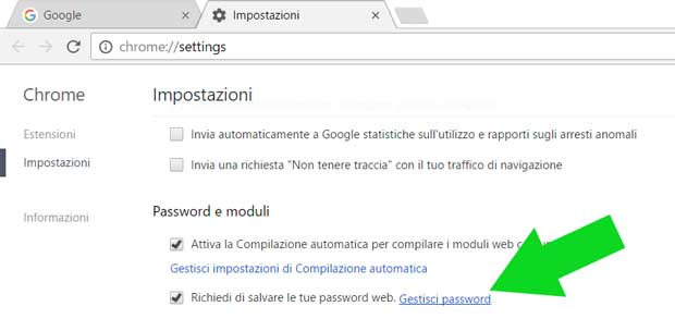 Accesso a gestisci password Google Chrome
