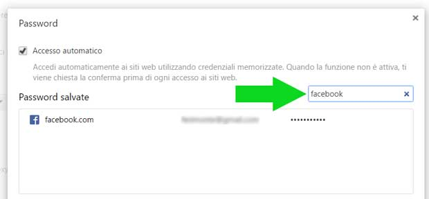 Cerca password di Google Chrome