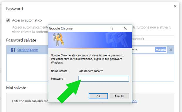 Inserire la password di Windows per recuperare la password di Facebook